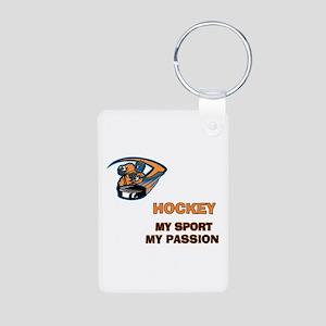 Hockey My Passion Aluminum Photo Keychain