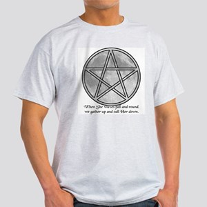 """Pentagram Over Moon"" Ash Grey T-Shirt"
