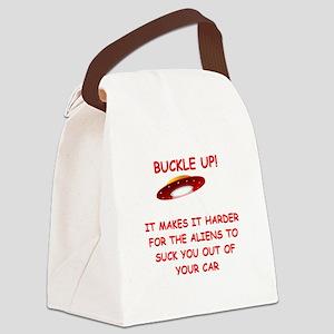 funny alien abduction ufo joke Canvas Lunch Bag