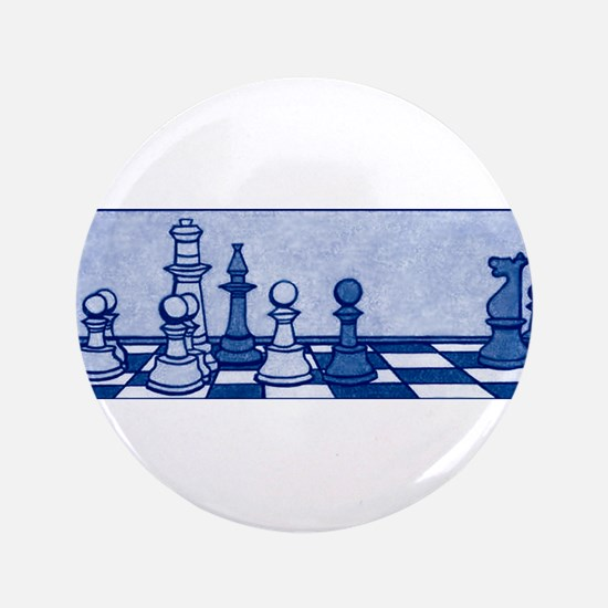 """Chess: Study in Blue 3.5"""" Button"""