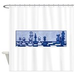 Chess: Study in Blue Shower Curtain