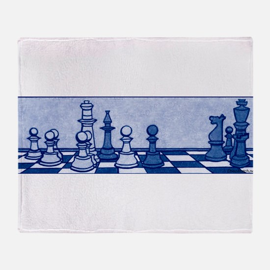 Chess: Study in Blue Throw Blanket