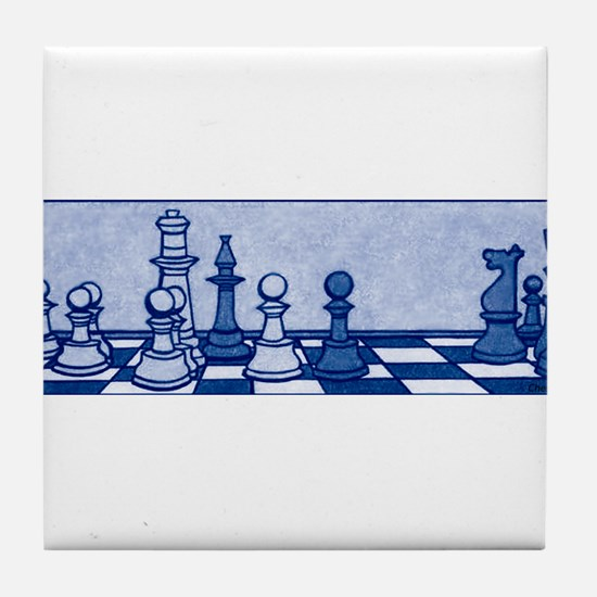 Chess: Study in Blue Tile Coaster