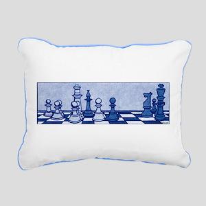 Chess: Study in Blue Rectangular Canvas Pillow
