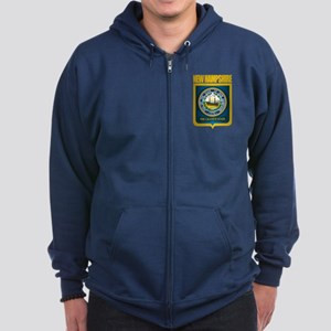 New Hampshire Seal (back) Zip Hoodie (dark)