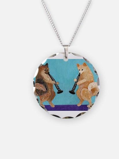 Pomeranian Clarinet Duo Necklace Circle Charm
