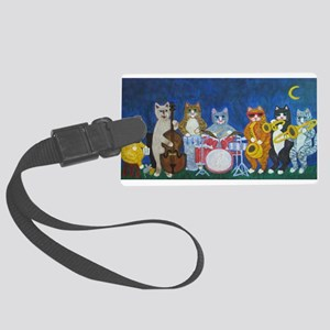 Salsa Cats at Night Large Luggage Tag