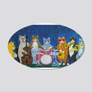 Salsa Cats at Night 20x12 Oval Wall Decal