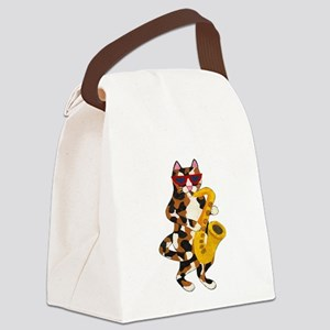 Calico Cat Playing Saxophone Canvas Lunch Bag