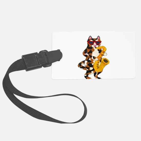 Calico Cat Playing Saxophone Luggage Tag