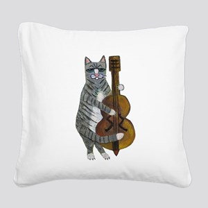 Tabby Cat cello player Square Canvas Pillow