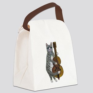 Tabby Cat cello player Canvas Lunch Bag