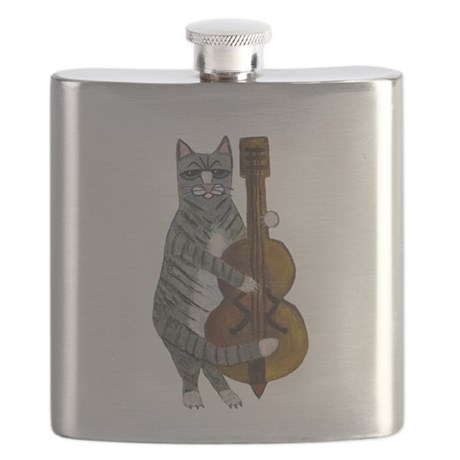 Tabby Cat cello player Flask