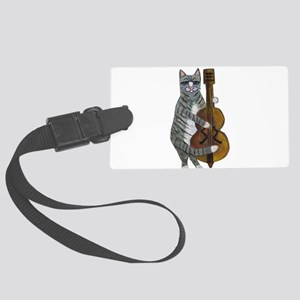Tabby Cat cello player Large Luggage Tag