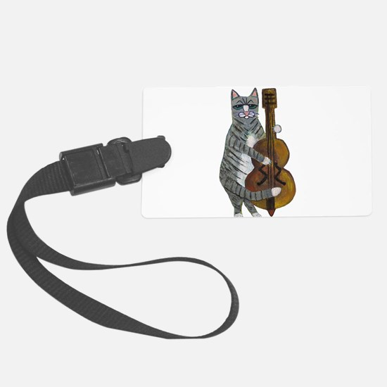 Tabby Cat cello player Luggage Tag