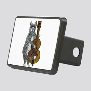 Tabby Cat cello player Rectangular Hitch Cover