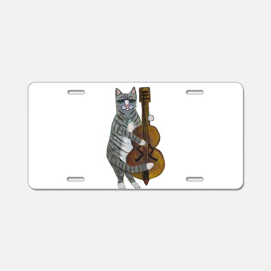 Tabby Cat cello player Aluminum License Plate