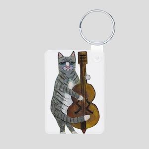 Tabby Cat cello player Aluminum Photo Keychain