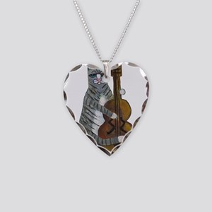 Tabby Cat cello player Necklace Heart Charm