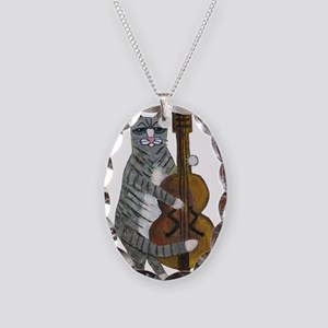 Tabby Cat cello player Necklace Oval Charm