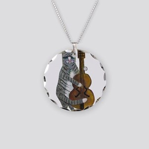 Tabby Cat cello player Necklace Circle Charm