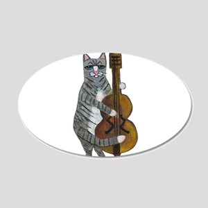 Tabby Cat cello player 20x12 Oval Wall Decal