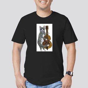 Tabby Cat cello player Men's Fitted T-Shirt (dark)