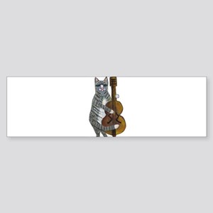 Tabby Cat cello player Sticker (Bumper)