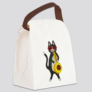Tuxedo cat with sax Canvas Lunch Bag