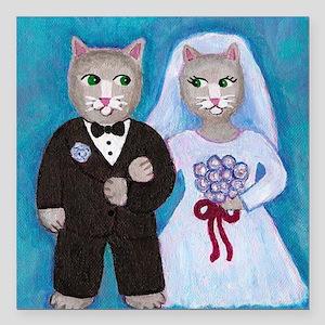 """Cat Bride Square Car Magnet 3"""" x 3"""""""