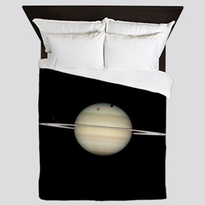 Saturn 4 Moons in Transit Queen Duvet