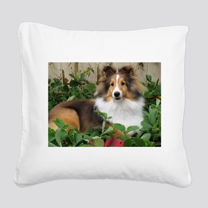 Strawberry Patch Square Canvas Pillow