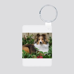 Strawberry Patch Aluminum Photo Keychain