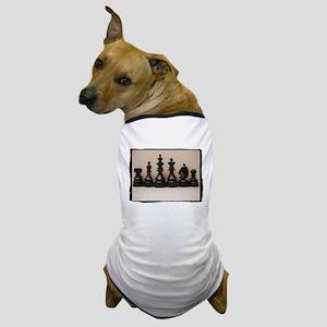 blackchesslineupsepiaframe Dog T-Shirt