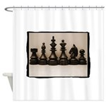 blackchesslineupsepiaframe Shower Curtain