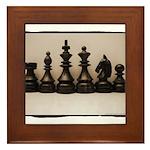 blackchesslineupsepiaframe Framed Tile