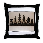 blackchesslineupsepiaframe Throw Pillow
