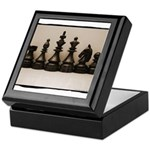 blackchesslineupsepiaframe Keepsake Box