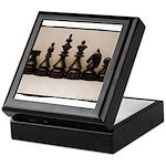 blackchesslineupsepiaframe Keepsake Box