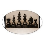 blackchesslineupsepiaframe Sticker (Oval 50 pk