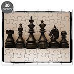 blackchesslineupsepiaframe Puzzle