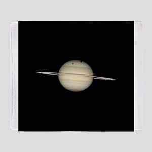 Saturn 4 Moons in Transit Throw Blanket