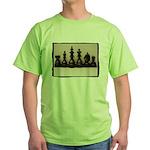 blackchesslineupsepiaframe Green T-Shirt