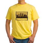 blackchesslineupsepiaframe Yellow T-Shirt