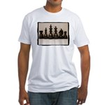 blackchesslineupsepiaframe Fitted T-Shirt