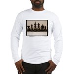 blackchesslineupsepiaframe Long Sleeve T-Shirt