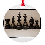 blackchesslineupsepiaframe Round Ornament