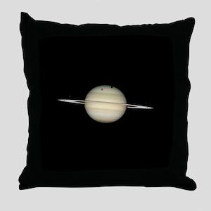 Saturn 4 Moons in Transit Throw Pillow