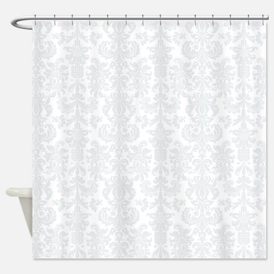 White Light Gray Floral Damasks Shower Curtain