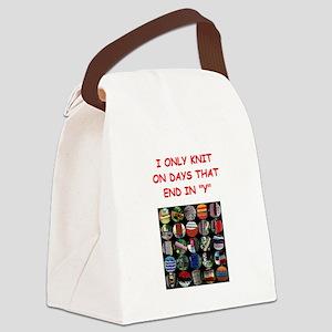 funny knit knitter knitting joke Canvas Lunch Bag